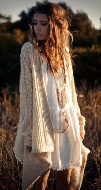 sweater boho dress beige hippie indie gypsy beautiful natural long sweater white sweater knitted sweater jewels cardigan boho chic