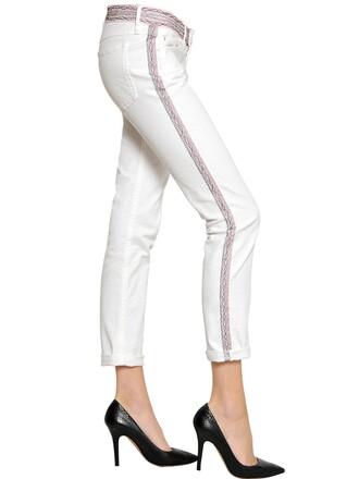 jeans denim embroidered cotton white