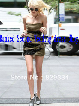 Taylor Momsen Sheath / Column Strapless Beading Sleeveless Short / Mini Chiffon Brown Cocktail Dress / Homecoming Dress -in Celebrity-Inspired Dresses from Apparel & Accessories on Aliexpress.com
