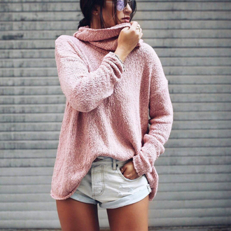 sweater tumblr pink sweater turtleneck turtleneck sweater denim denim shorts knit knitted sweater