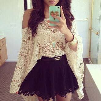 crochet top skirt shirt cute outfits see through blouse cardigan cream crochet boho off the shoulder white lace dress top black cute girly summer cool two-piece feminine fall outfits skater skirt white beige lace blouses see through blouse white blouse