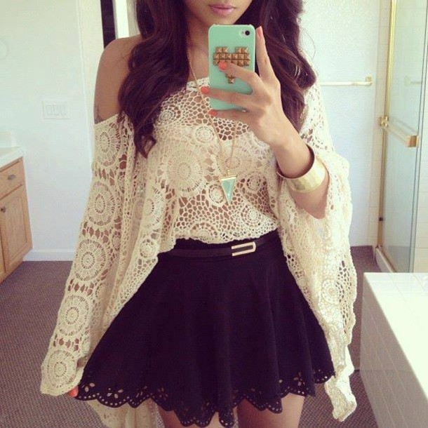 crochet top skirt shirt cute outfits see through blouse cardigan cream crochet boho off the shoulder white lace dress top black cute girly summer cool two-piece feminine fall outfits skater skirt off the shoulder white beige lace blouses see through blouse white blouse