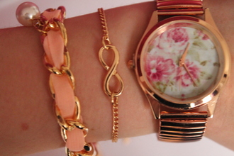 jewels bracelets gold clock flowers jewelry infinity infinite bag hipster watch jewellery rose gold floral rose pink rose watch ribbon infiniti