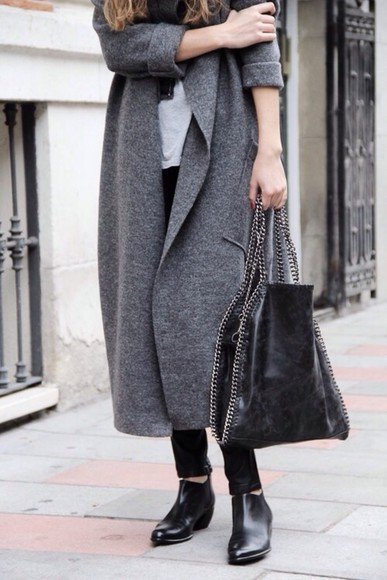coat long grey grey coat blogger outfit winter outfits chelsea boots leather bag