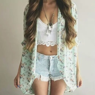 cardigan floral pretty green pink flowers summer white lace crop tops highwaisted shorts shorts style blouse shirt