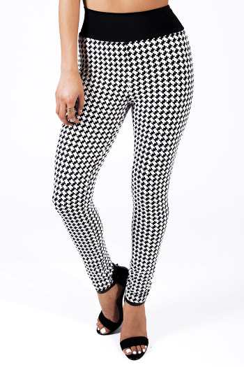 Black/white hounds tooth knit high waisted leggings skinny pants