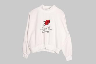 sweater sweatshirt rose kawaii japanese kfashion korean fashion embroidered winter outfits cute