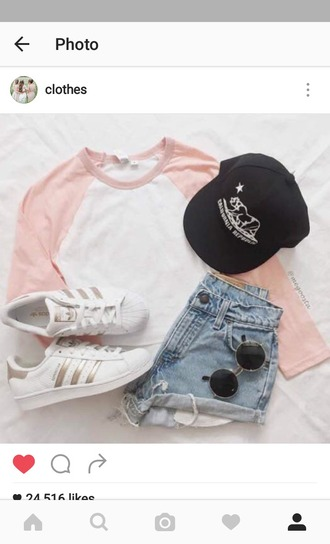 shorts denim shorts baseball tee sneakers cap