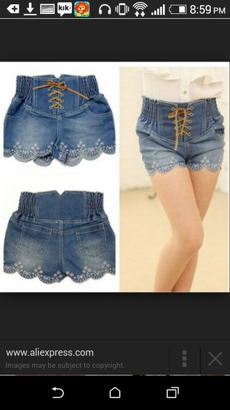 shorts scalloped shorts string shoelace pockets