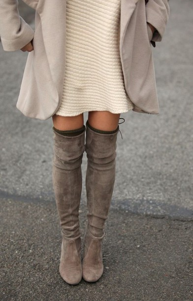 shoes boots thigh high boots thigh highs taupe heels lace up fall outfits winter boots tumblr outfit tumblr tumblr girl tumblr clothes pinterest instagram suede boots all beige everything beige overknee boots dress cream/white brown leather boots cozy winter outfits grey