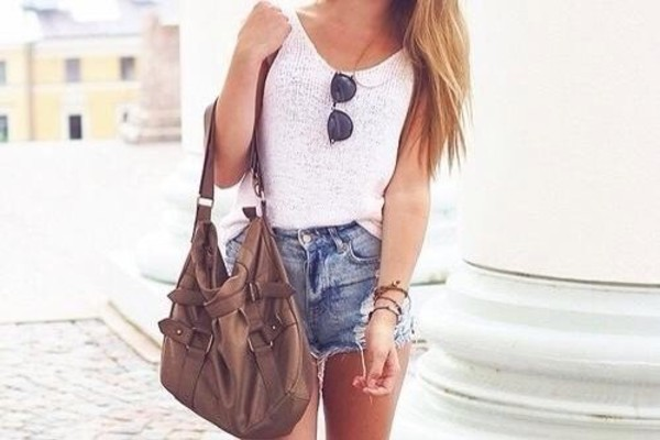 bag short denim shorts sunglasses top tank top