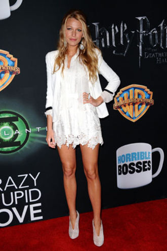 high heels low boots blake lively lace dress white dress white jacket jewels dress yoyo