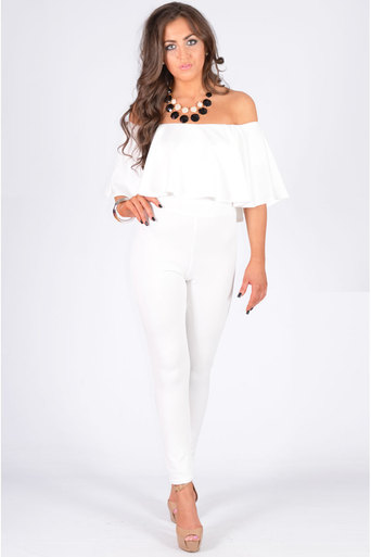 Off The Shoulder Ruffle Jumpsuit In White - Pop Couture