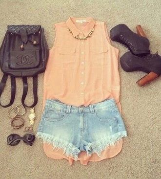 bag blouse shorts jewelry high heels
