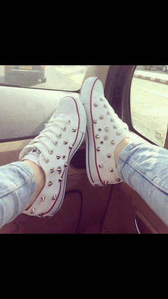 7213e8ce57fd shoes converse white studded stud white converse red stripe converse low  nails bag