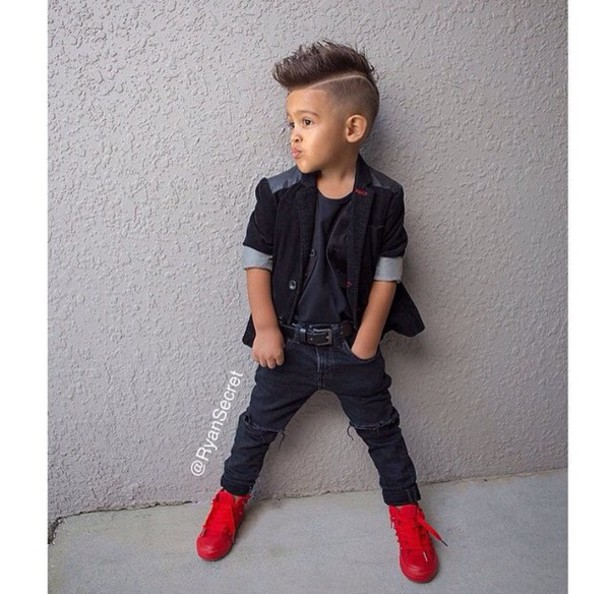 jacket kids blazer leather leather shoulders swag swag jacket blazer blazer kids fashion jeans ripped jeans ripped skinny jeans sneakers red sneakers leather jacket leather sleeves mohawk style fashion kids fashion