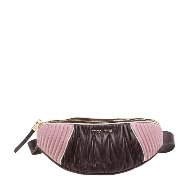 belt bag pleated bag pink red