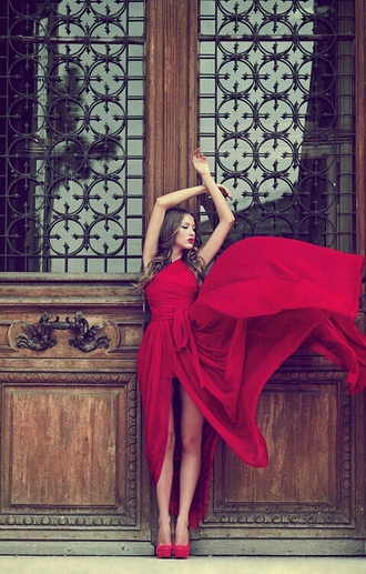 dress red dress one shoulder