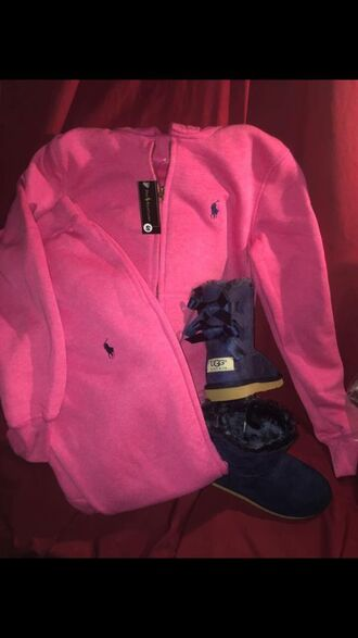 jumpsuit ralph lauren polo polo sweater polo sweat pants pink polo sweatsuit navy ugg boots pink women girl school outfit high school