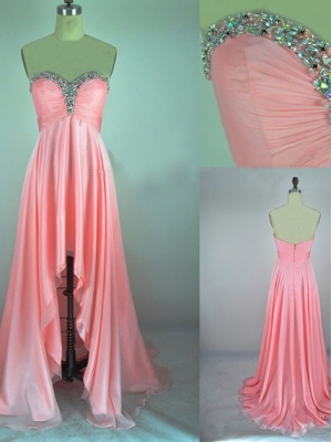 Buy Fascinating Pink A-line Sweetheart Asymmetrical Prom Dress under 200-SinoAnt.com