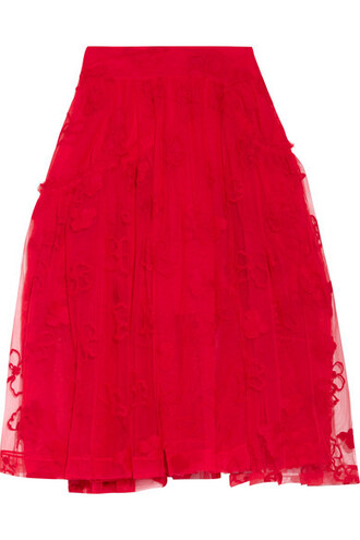 skirt midi skirt embroidered midi red