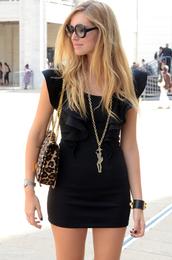 the blonde salad,chiara ferragni,dress,bag,black bag,brown bag,black dress