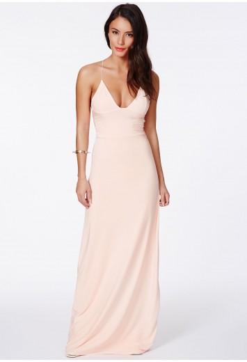 Karinka slinky strappy maxi dress nude