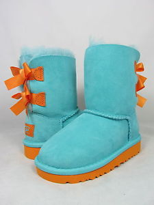 NEW INFANT TODDLER UGG AUSTRALIA BOOT BAILEY BOW BLUE CURACAO MARIGOLD 3280T ORG