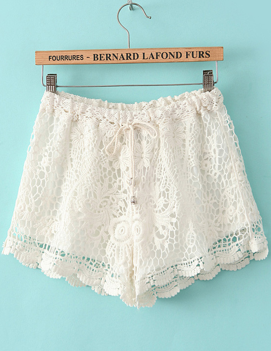 White Drawstring Waist Hollow Lace Shorts - Sheinside.com