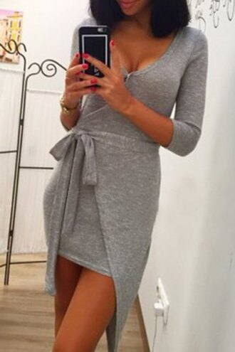 dress grey style classy rose wholesale cleavage stylish hippie trendsgal long sleeves long sleeve dress grey dress asymmetrical asymmetrical dress