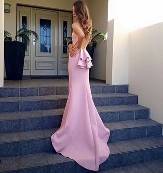 dress pink dress bow dress backless dress prom dress debs dress baby pink fashion girly dress pink prom dress gown