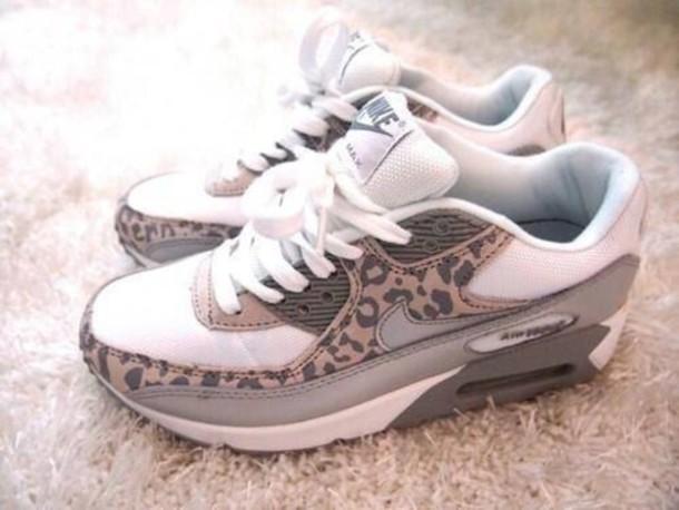 shoes nike white air max leopard print wheretoget