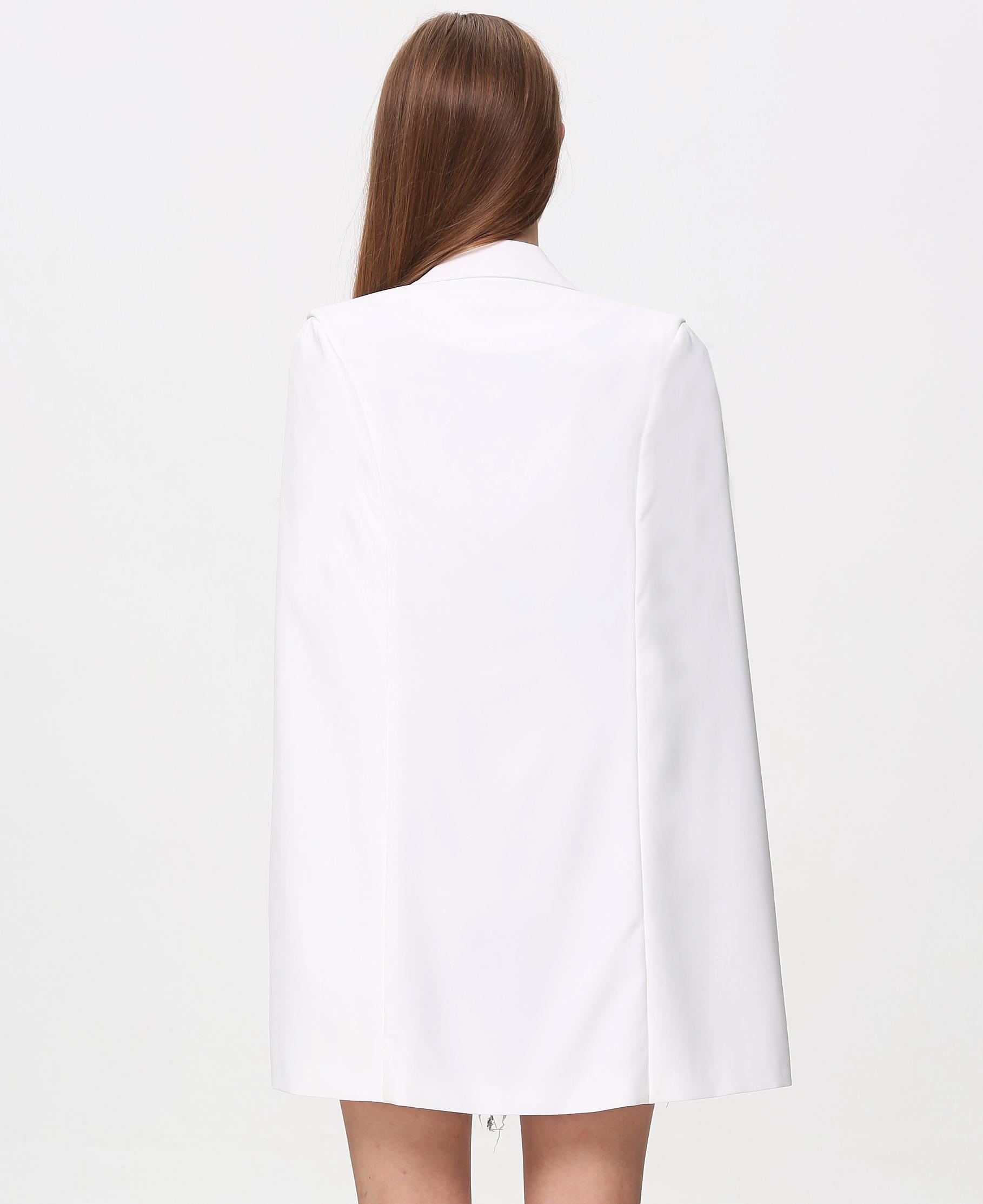 White Notch Lapel Cape Style Blazer - Sheinside.com