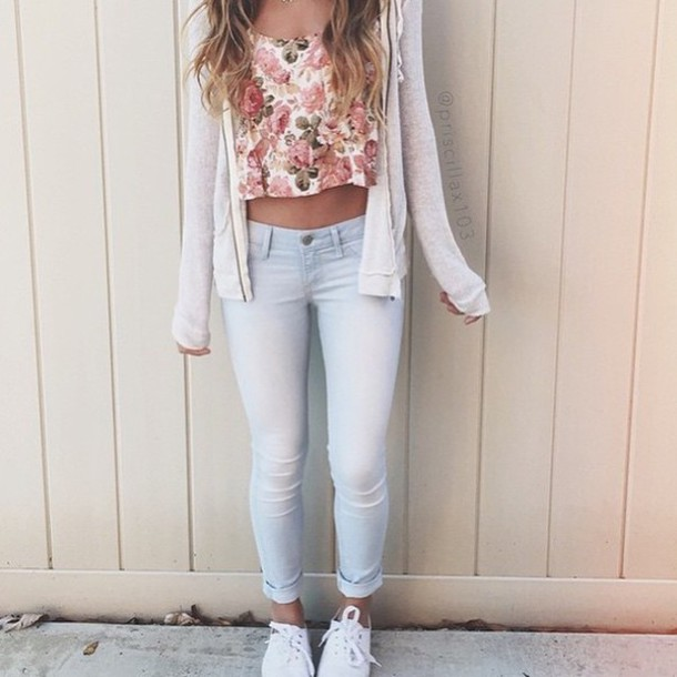 e6f35ca77 cardigan floral tank top light blue jeans shirt t-shirt flower shirt outfit  style shoes