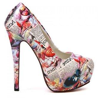 shoes high heels printed heels