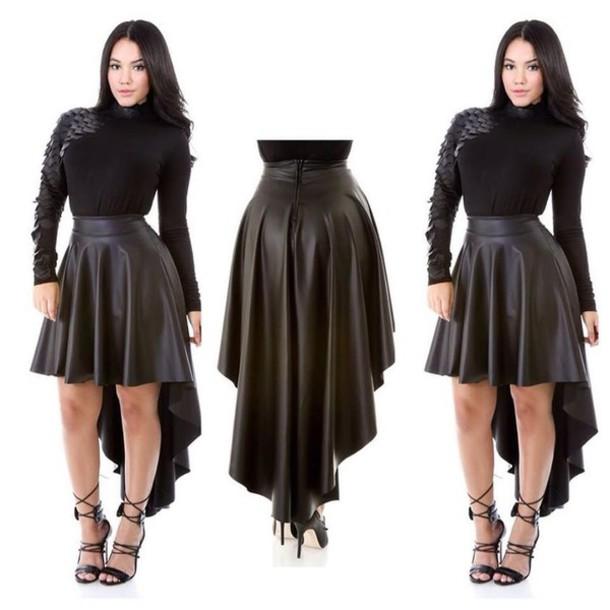 skirt black black skirt skater skirt leather skirt