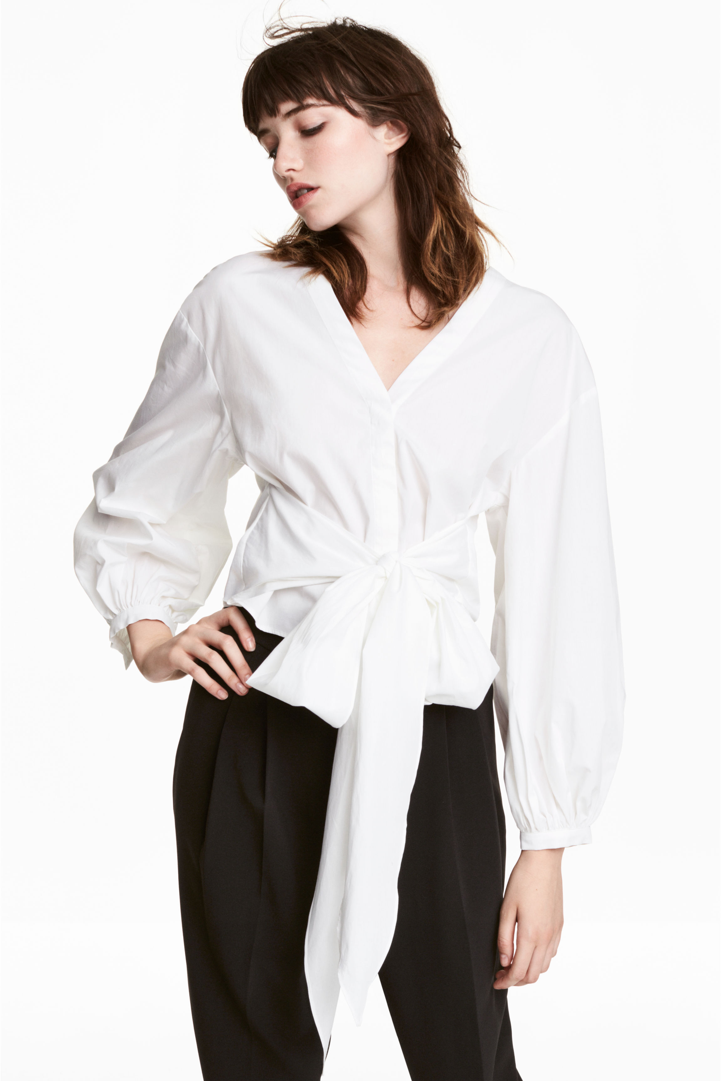 ada9698af2f Cotton tie blouse - Red White striped - Ladies