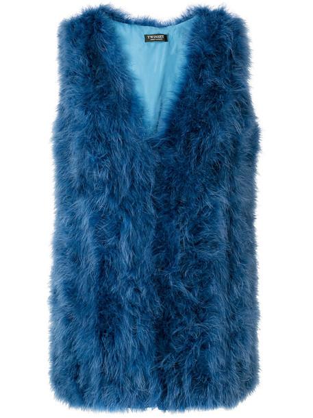 jacket feathers sleeveless women blue