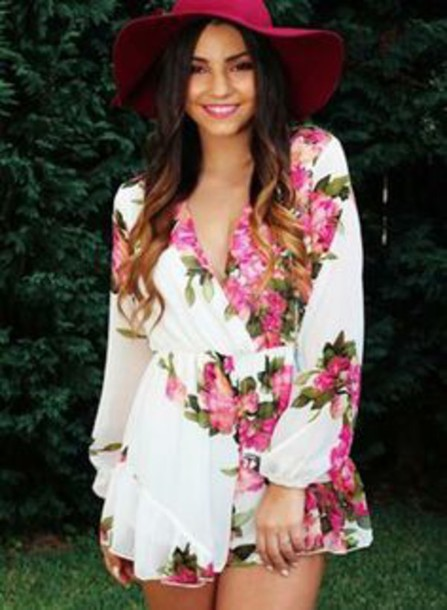 jumpsuit flowers summer jumpsuit white long sleeves floral pink flower romper white jumpsuit summer