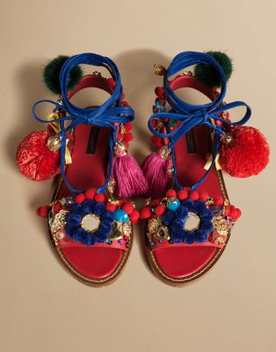 Decorative flat sandal in napa leather with pompoms | dolce&gabbana online store