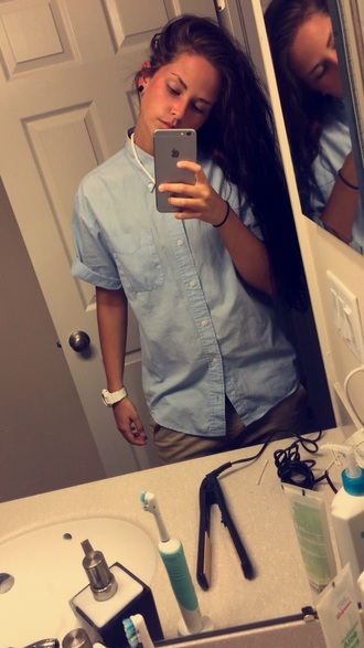boyish shirt blue shirt
