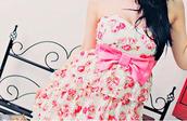 dress,flowers,bows,white dress,white,pink,pink dress,floral dress