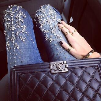 jeans fashion glitter shiny gorgeous cute rhinestones cropped light wash denim jewels diamonds gems purse new evening date outfit look 2014 newlooks style best top shop pants denim wear amazing wow perfect 2015 need in life on point a1 riverisland stone stones pearl embellished embellished jeans