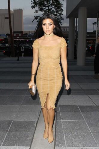 skirt top suede suede skirt pumps kourtney kardashian kardashians bodycon slit skirt