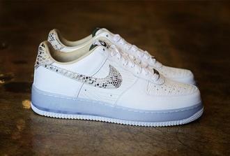 sneakers nike sneakers nike air force 1 nike air force white shoes snake print fashion nike white sneakers white nikes
