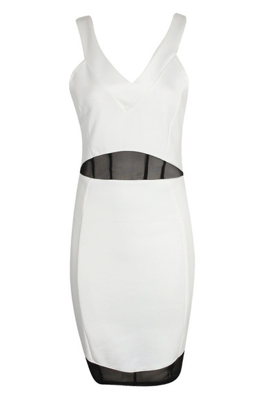dress white cross back clothes black black and white bodycon