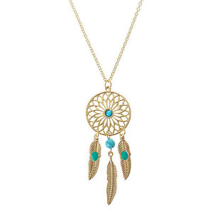 Claires girls and womens gold turquoise dreamcatcher feather claires girls and womens gold turquoise dreamcatcher feather pendant necklace mozeypictures Choice Image