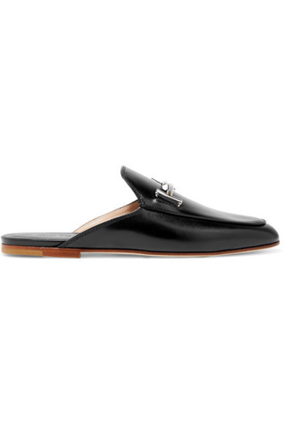 TOD'S slippers leather black shoes