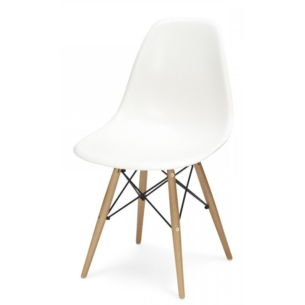 Buy Eames Style Cool White Retro Chair | Buy Eames Chair White & Beech