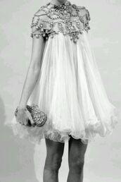 dress,vintage,pearl,girly,short dress,wedding dress,beaded,destination wedding,reception dress,baby doll,short,white,chiffon,jewelry,stones,gold,silver,light blue,clothes,white dress,flowy dress,dress with straps,prom dress